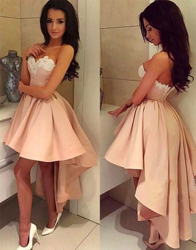 Strapless High Low Satin Prom Dress Lace Appliques Women Party Dress 2019