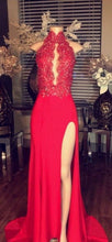 Sheath Long Satin Red Prom Dress High Neck Lace Appliques Beads