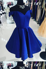 Off the Shoulder Royal Blue Satin Short Homecoming Dress