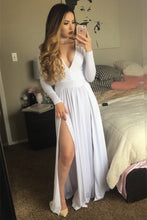 V Neck A-line Long White Chiffon Prom Dress Long Sleeves
