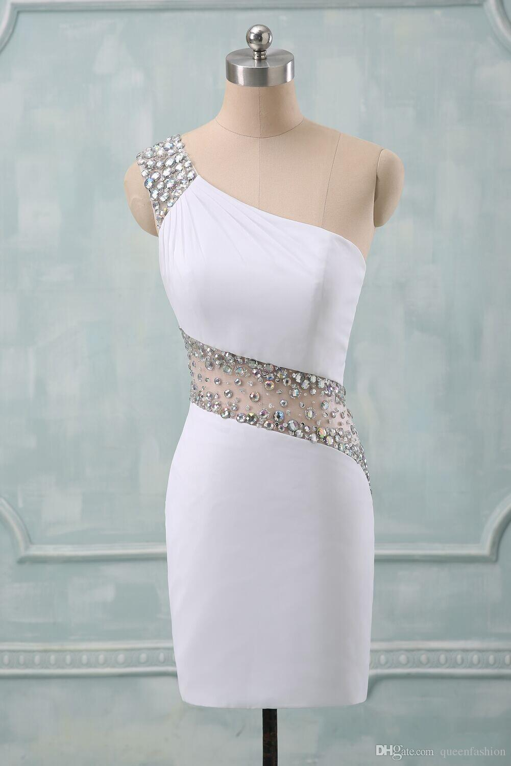 One Shoulder Sheath white Satin Short Prom Dress with Crystals
