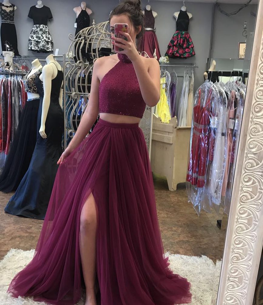 2 Pieces Long Tulle Slit Halter Neck Prom Dress