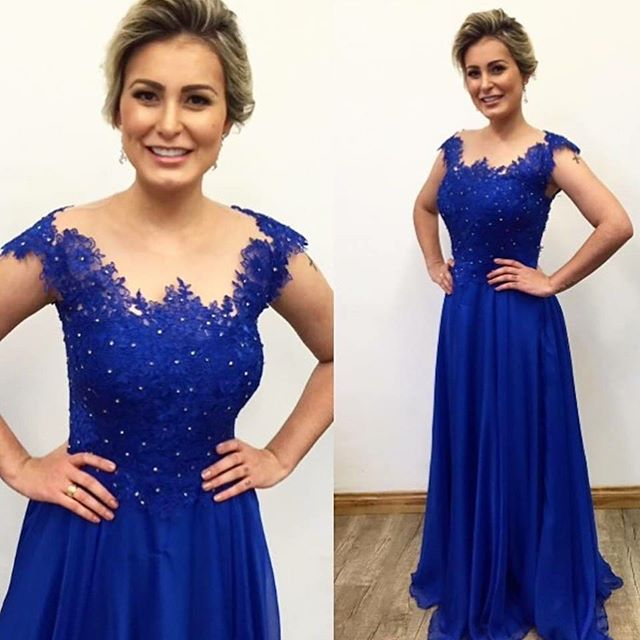 Cap Sleeve Royal Blue Chiffon Prom Dress with Lace Appliques