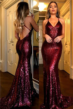 Sexy Mermaid Sequin Open back Long Women Prom Dress Spaghetti Straps