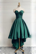 High Low Green Satin Prom Dress Strapless Pleated