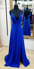 Royal Blue Long Chiffon Prom Dress Halter Neck Slit
