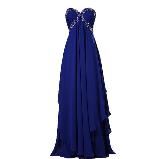 Strapless Long Royal Blue Chiffon Prom Dress Pleated Beded Women Dress