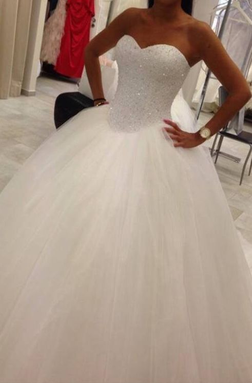 Ball Gown White Tulle Wedding Dress Strapless Beaded Petticoat