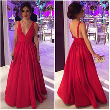 Open back A-line Red Satin Prom Dress Floor Length Women Party Dress