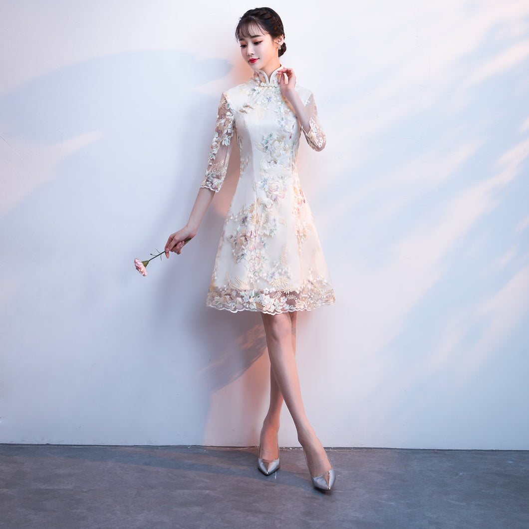 3/4 Sleeves High Neck Lace Women Prom Dress Knee Length Women Party Dress