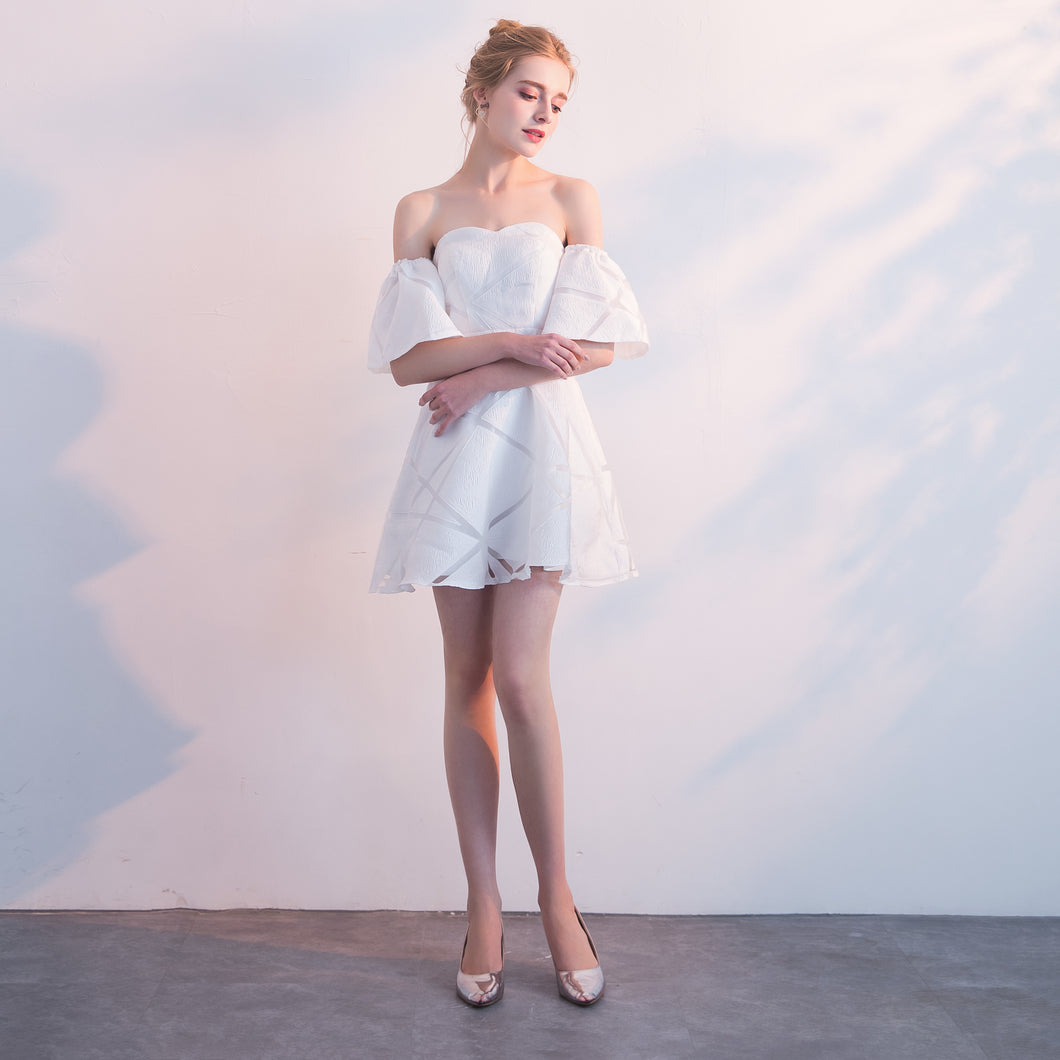 INLOVE Off the Shoulder Mid-calf White Lace Prom Dress Short Sleeves
