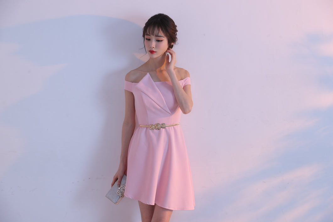 Off the Shoulder Short Pink Satin Homecoming Dress Above knee Mini Party Dress INLOVE