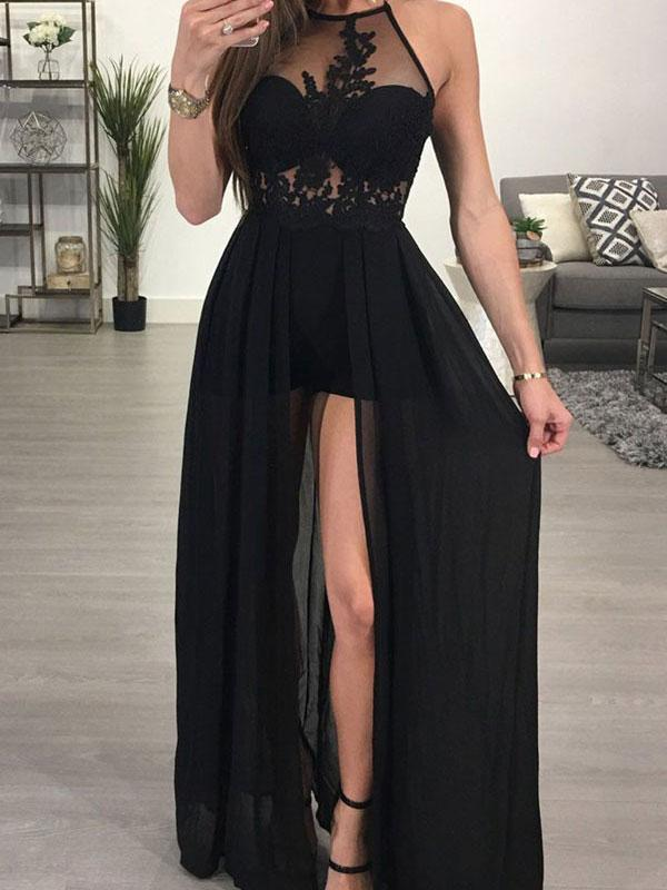 Halter Neck Long Black Chiffon Prom Dress with Lace Appliques