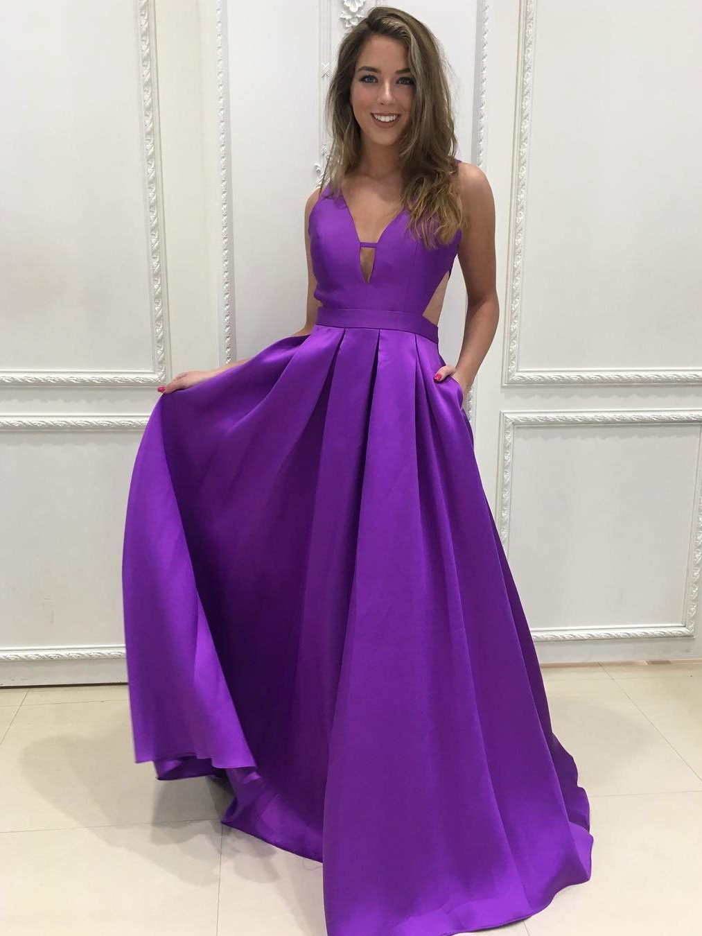 Open Back Long Purple Satin V Neck Prom Dress Floor Length