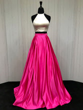 Halter Neck A-line 2 Pieces Pink satin Prom Dress