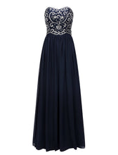 Navy Blue Long Embroidery Beaded Chiffon Prom Dress 2019