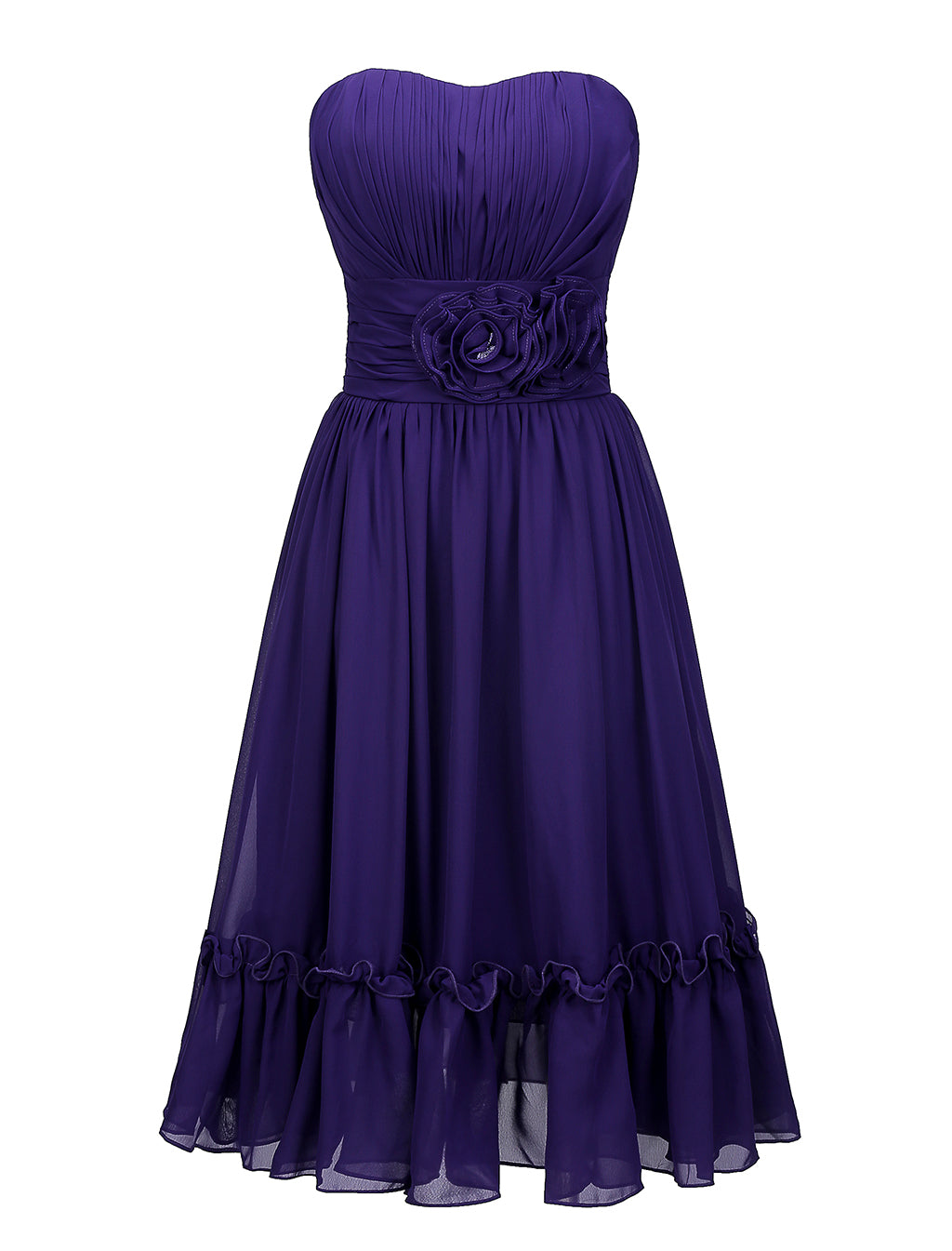 Knee Length Short Purple Chiffon Homecoming Dress Handmade Flower