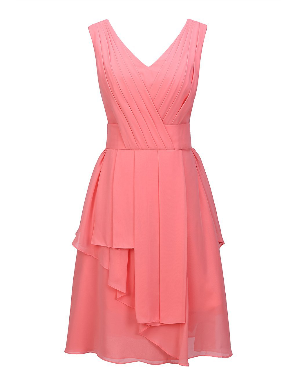 V Neck Short Chiffon Homecoming Dress V Neck Pleated