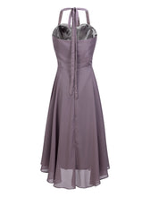 Halter Neck Gray Chiffon Homecoming Dress Mid-calf