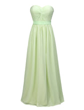 Strapless Light Green Chiffon long Women Evening Dress Floor Length Pleated Women Dress