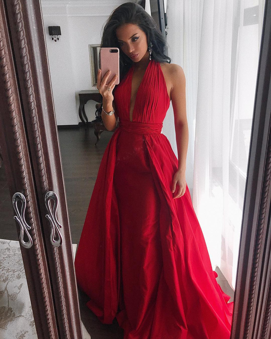 Halter Neck A-line Long Red Satin Prom Dress