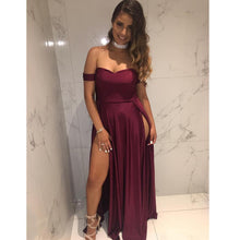 Off the Shoulder Long Chiffon Prom Dress Slit Women Evening Dress