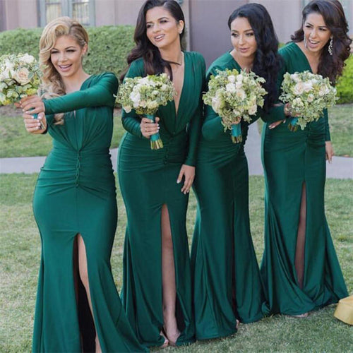 Long Sleeves Mermaid Long Slit Satin Bridesmaid Dress 2019
