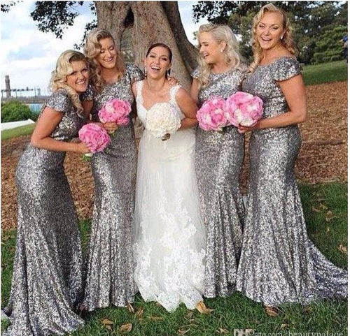 Cap Sleeves Sheath Long Sequin Bridesmaid Dress 2019