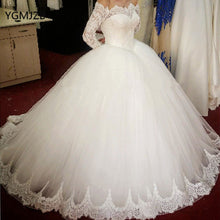 Off the Shoulder Long Sleeves Ball Gown Tulle Wedding Dress with lace Appliques