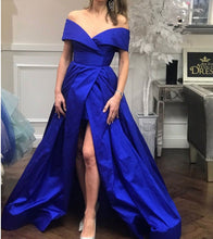 Off the Shoulder Long Royal Blue Satin Prom Dress Floor Length Women Dress
