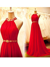 Halter Long Red Beaded Chiffon Prom Dress