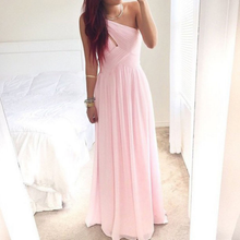 One Shoulder Pink Long Pleated Chiffon Prom Dress
