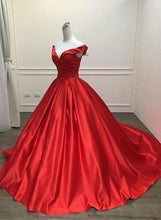 Off the Shoulder a-line Long Red Satin Prom Dress