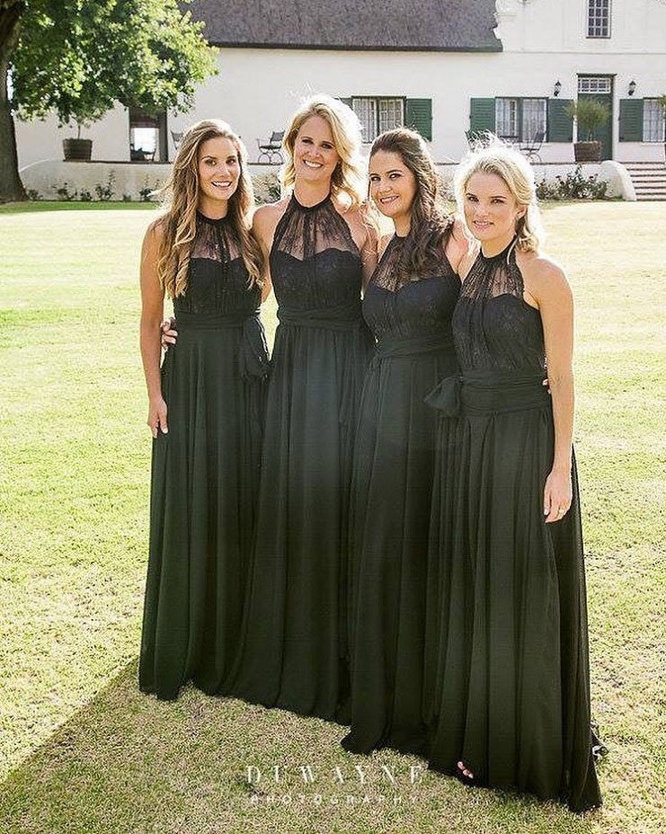 Halter Neck Long Black Chiffon Bridesmaid Dress Floor Length Women Dress