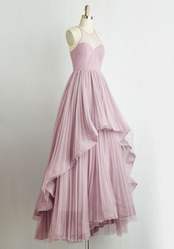 Halter Neck Long chiffon Prom Dress Floor Length Twisted Style
