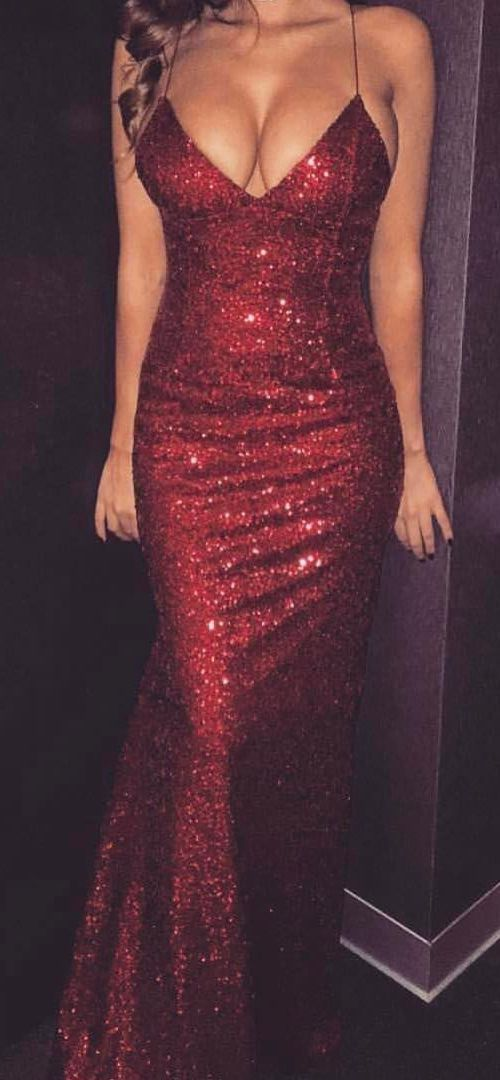 Sheath Long Red Sequin Lace Prom Dress Spaghetti Straps