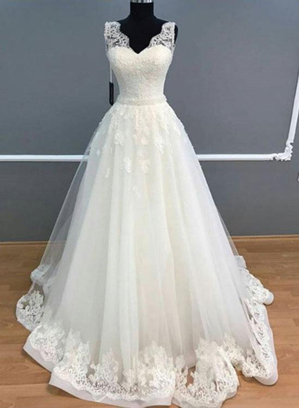 V Neck A-line Tulle Women Wedding Dress with Lace Appliques