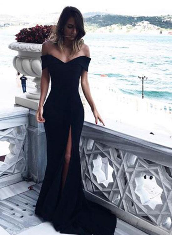 Off the Shoulder Sheath Long Chiffon Black Prom Dress