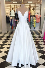 Spaghetti Straps A-line Long White Satin Prom Dress Floor Length