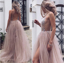 Open Back Long Crystals Tulle Slit Prom Dress