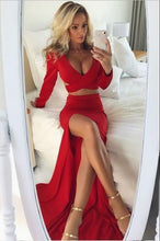 2 Pieces Long Red Satin Prom Dress with long Sleeves Slit