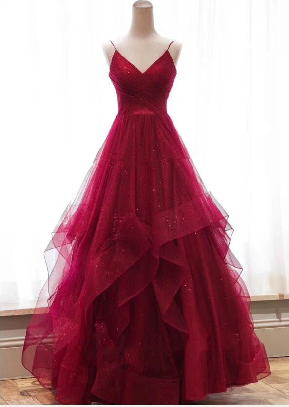 Spaghetti Straps A-line Long Tulle Prom Dress Floor Length Women Dress