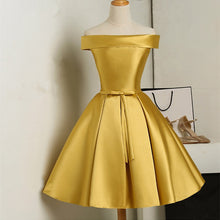 Off the Shoulder Above Knee Golden Satin Women Homecoming Dress