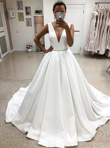 Deep V Neck A-line Satin Prom Dress Floor Length White Bridal Gowns