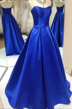 Royal Blue A-line Long Satin Prom Dress Floor Length Women Dress