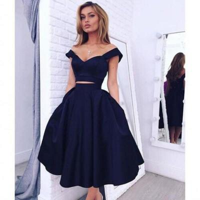 Off the Shoulder 2 Piece Mid-calf Navy blue Satin Prom Dress