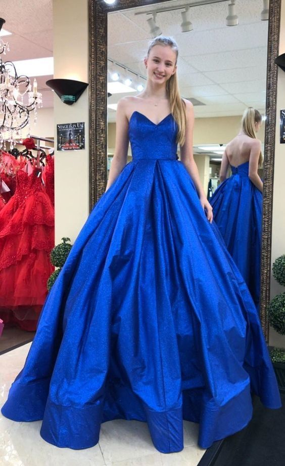 Royal Blue A-line Satin Prom Dress Floor Length open Back Women Party Dress