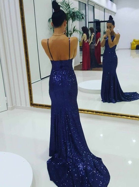 Spaghetti Straps Sheath Sequin Prom Dress Floor Length Women Evening Dress