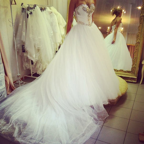 Strapless A-line White Tulle WeddingDress Crystals Floor Length Women Bridal Gowns