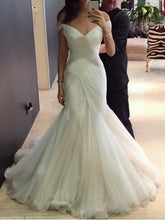 Off the Shoulder Mermaid Tulle Wedding Dress Floor Length Bridal Gowns